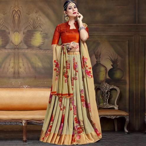 Impressive Light Olive Green Colored Festive Wear Printed Art Silk Saree