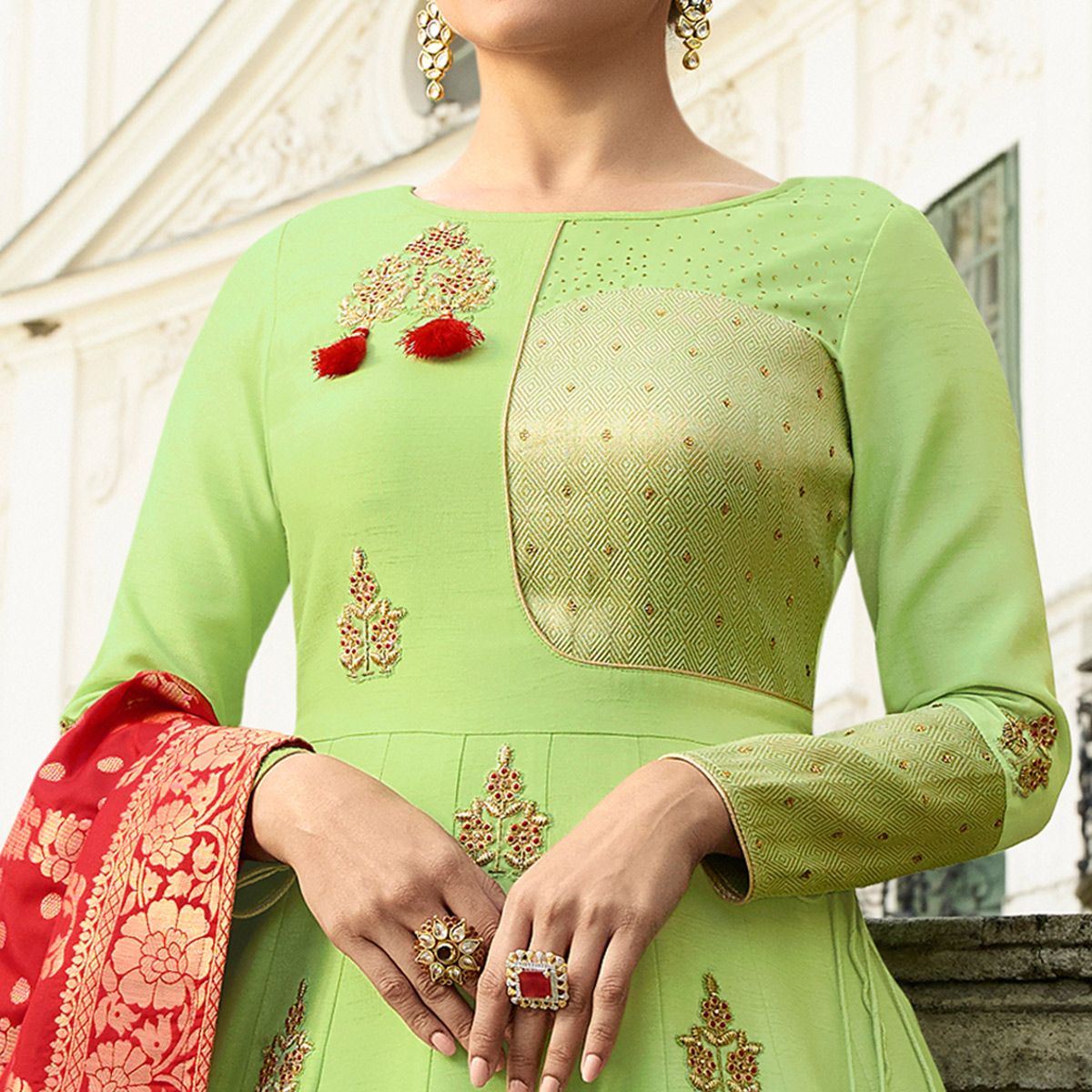 Exceptional Light Green Colored Partywear Embroidered Art Silk Gown With Banarasi Silk Dupatta