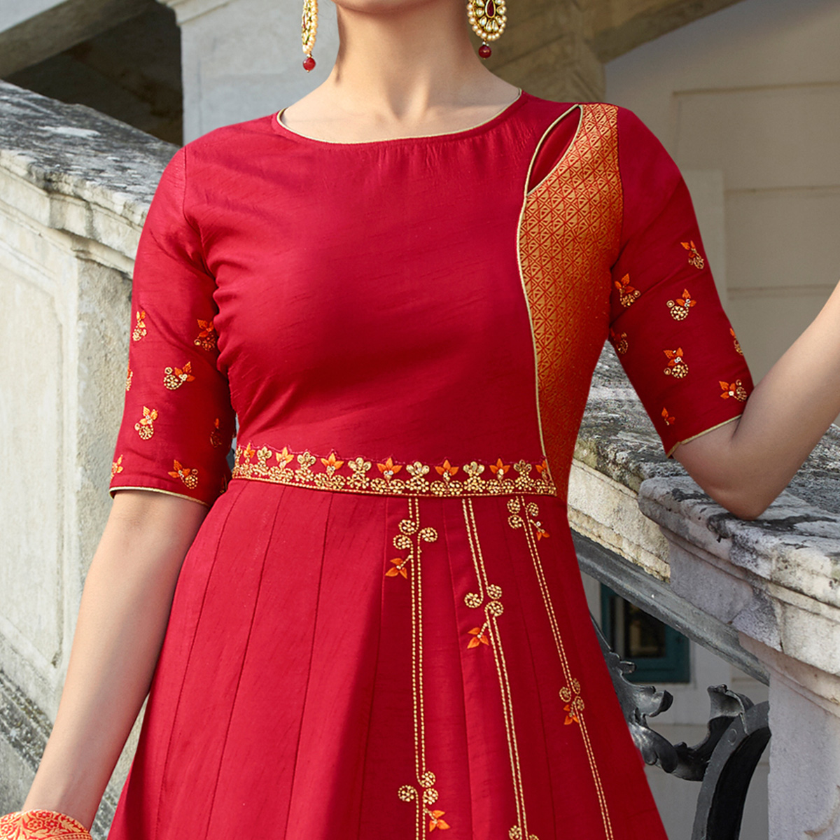 Starring Red Colored Partywear Embroidered Art Silk Gown With Banarasi Silk Dupatta