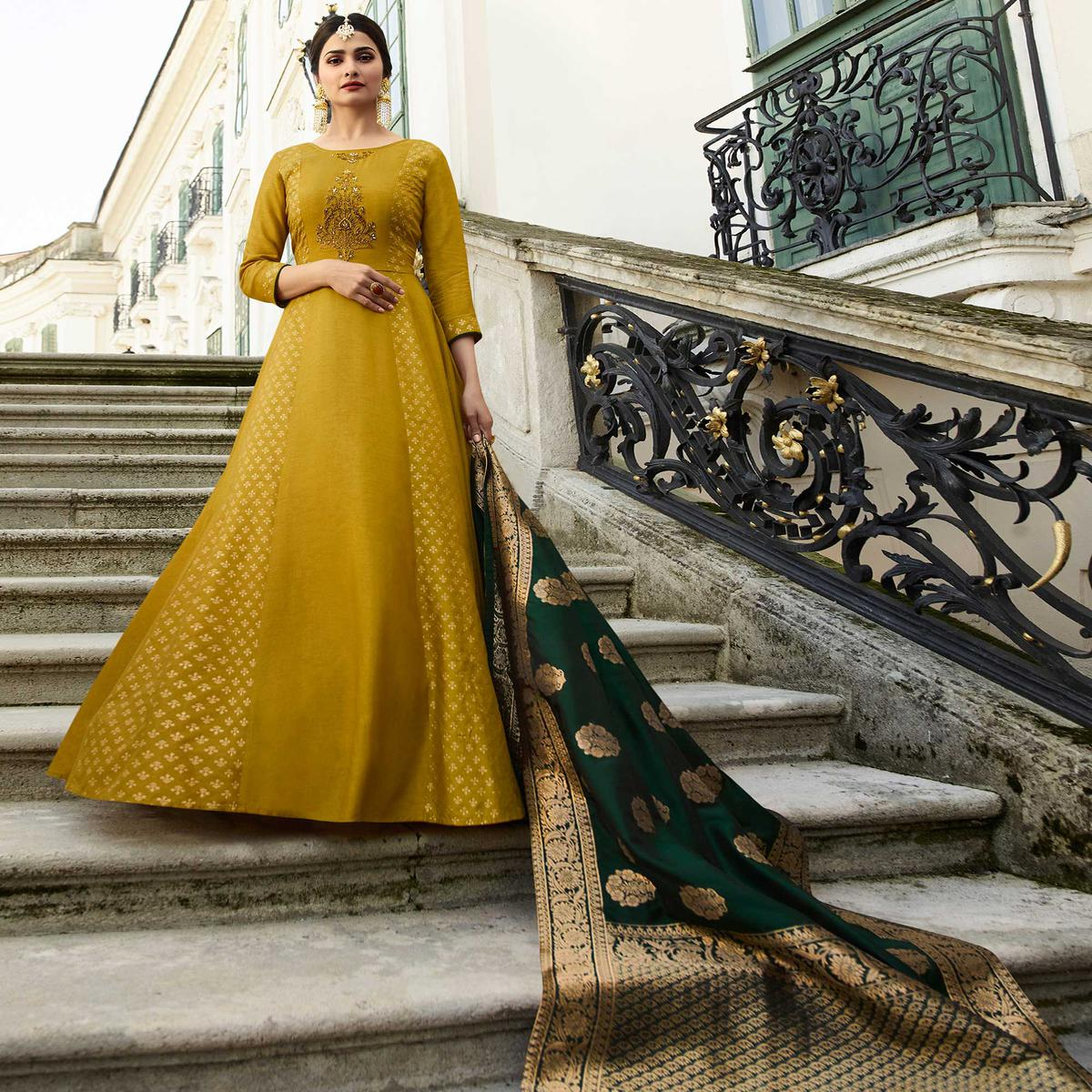 Flirty Pear Green Colored Partywear Embroidered Art Silk Gown With Banarasi Silk Dupatta