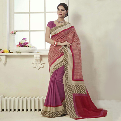 Red - Pink Casual Printed Saree
