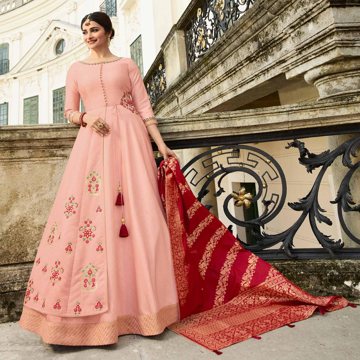 Trendy Light Pink Colored Partywear Embroidered Art Silk Gown With Banarasi Silk Dupatta