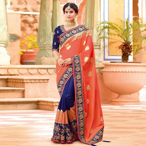 Refreshing Orange-Royal Blue Colored Partywear Woven-Embroidered Silk Half-Half Saree
