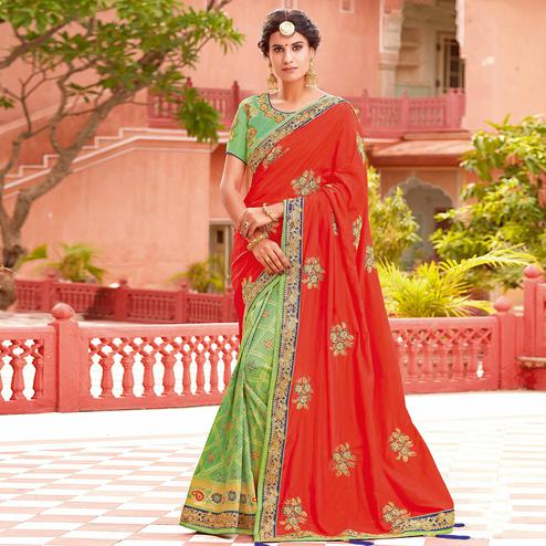 Elegant Red-Light Green Colored Partywear Woven-Embroidered Silk Half-Half Saree