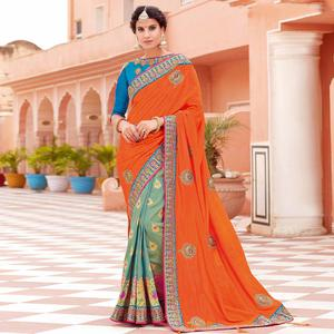 Alluring Orange-Blue Colored Partywear Woven-Embroidered Silk Half-Half Saree