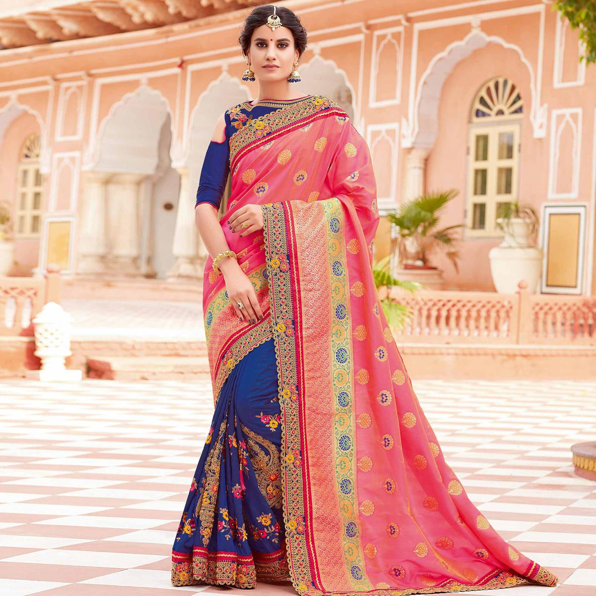 Radiant Pink-Royal Blue Colored Partywear Woven-Embroidered Silk Half-Half Saree