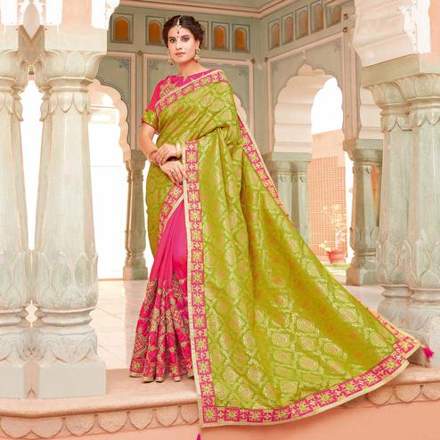 Sensational Green-Dark Pink Colored Partywear Woven-Embroidered Silk Half-Half Saree