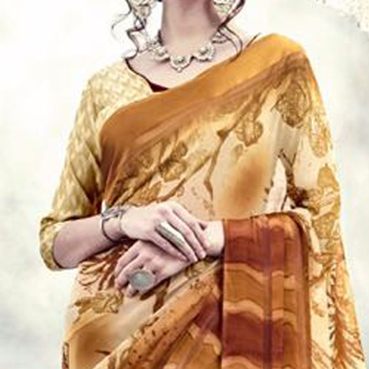 Rust Brown Fancy Designer Saree