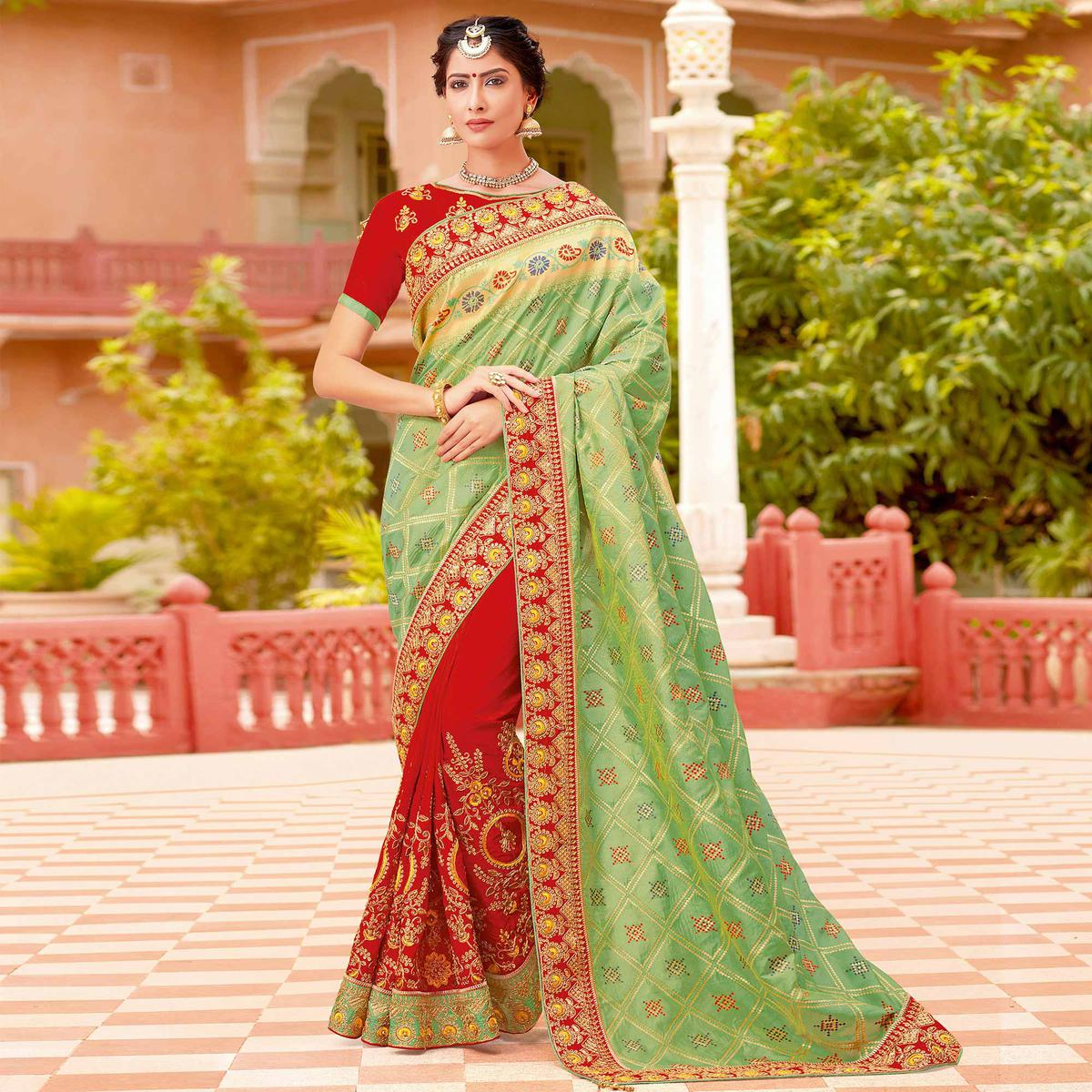Dazzling Light Green-Red Colored Partywear Woven-Embroidered Silk Half-Half Saree
