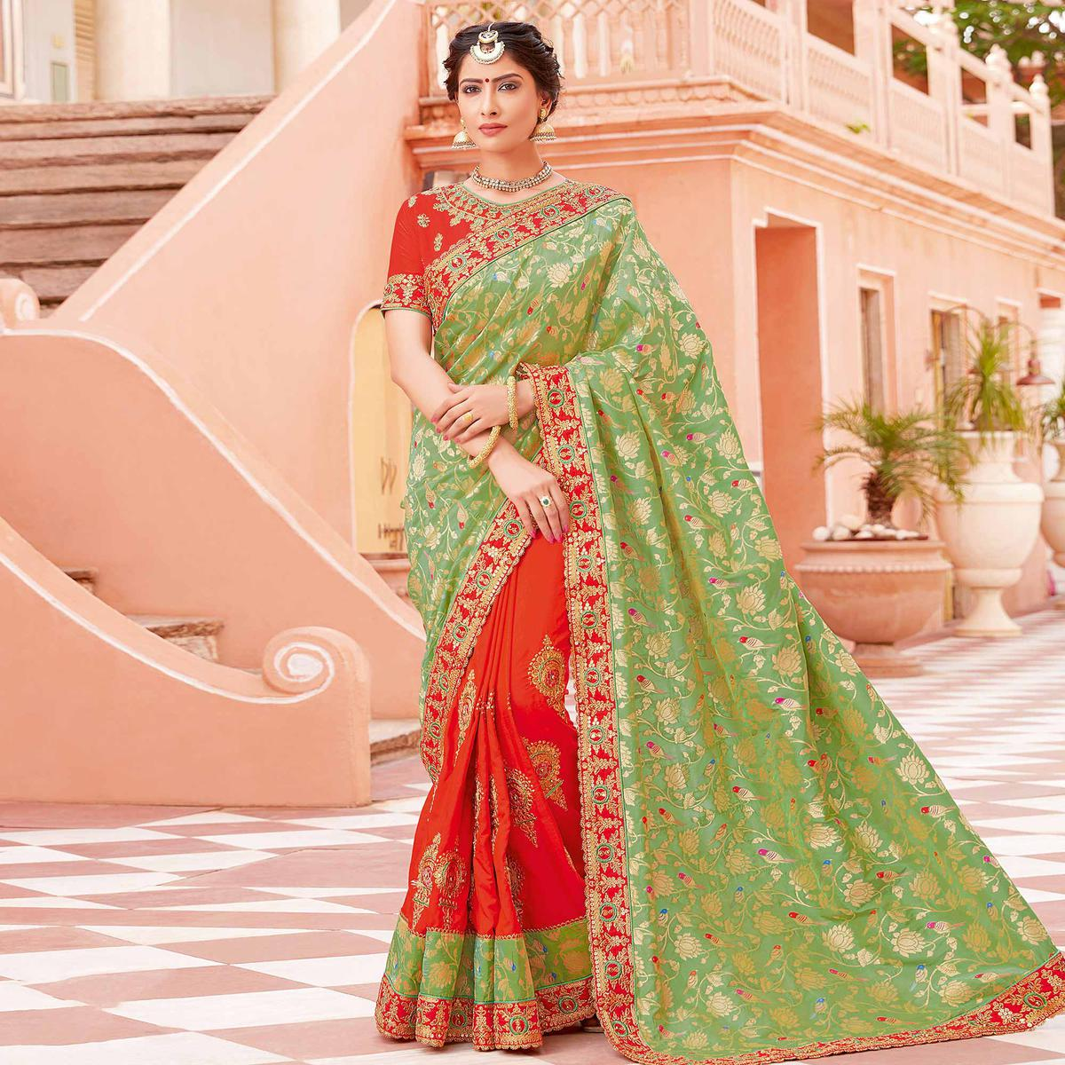 Breathtaking Light Green-Orange Colored Partywear Woven-Embroidered Silk Half-Half Saree