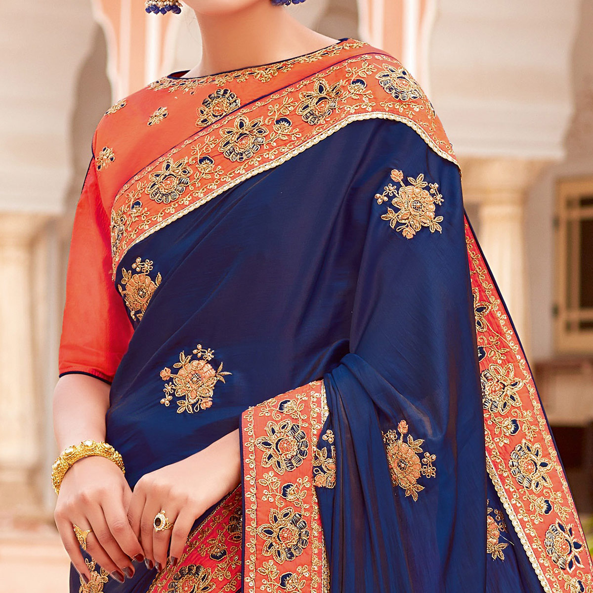Innovative Navy Blue-Orange Colored Partywear Woven-Embroidered Silk Half-Half Saree
