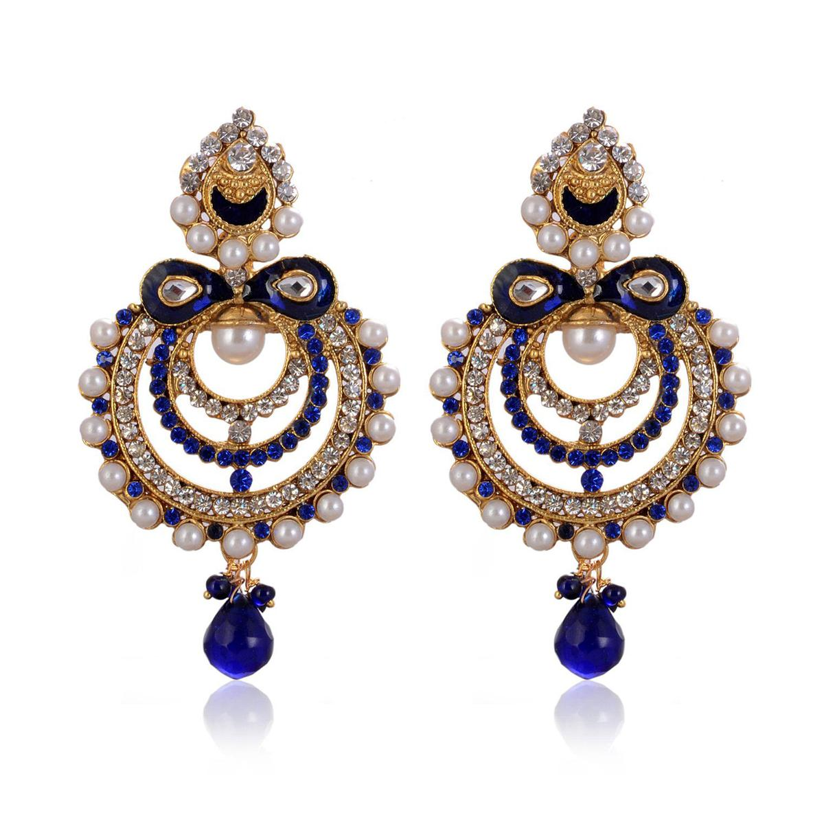 Innovative Blue Colored Mix Metal Stone Work Earrings
