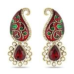 Gleaming Maroon Colored Mix Metal Stone Work Earrings