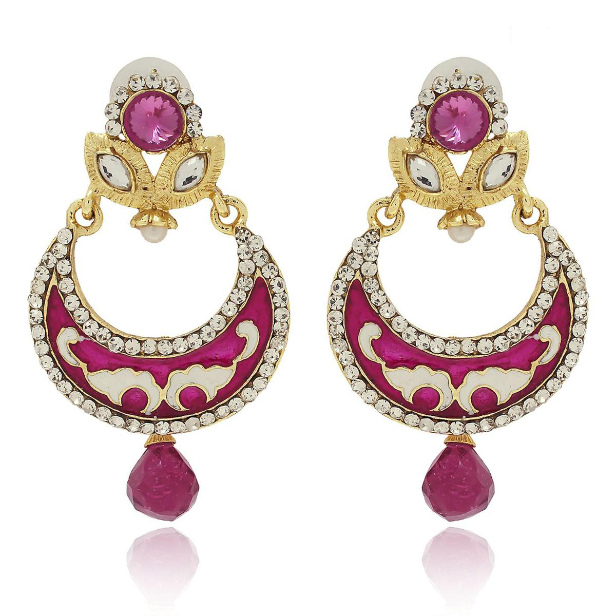 Arresting Pink Colored Mix Metal Stone Work Earrings