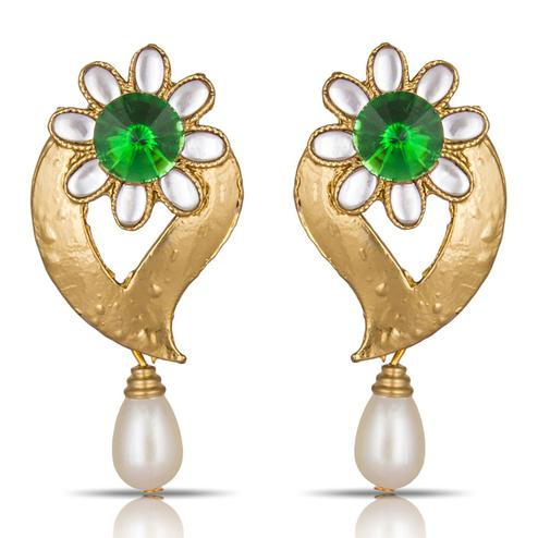 Exceptional Green Colored Mix Metal Stone Work Earrings