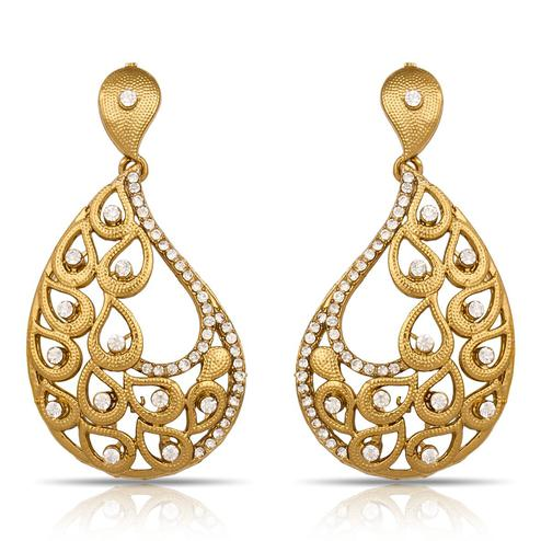 Excellent Golden Colored Mix Metal Stone Work Earrings