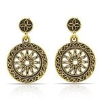 Ethnic Golden Colored Mix Metal Stone Work Earrings