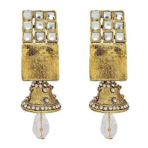 Starring Golden Colored Mix Metal Stone Work Earrings