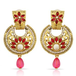 Flirty Pink Colored Mix Metal Stone Work Earrings