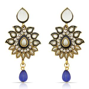 Hypnotic Blue Colored Mix Metal Stone Work Earrings