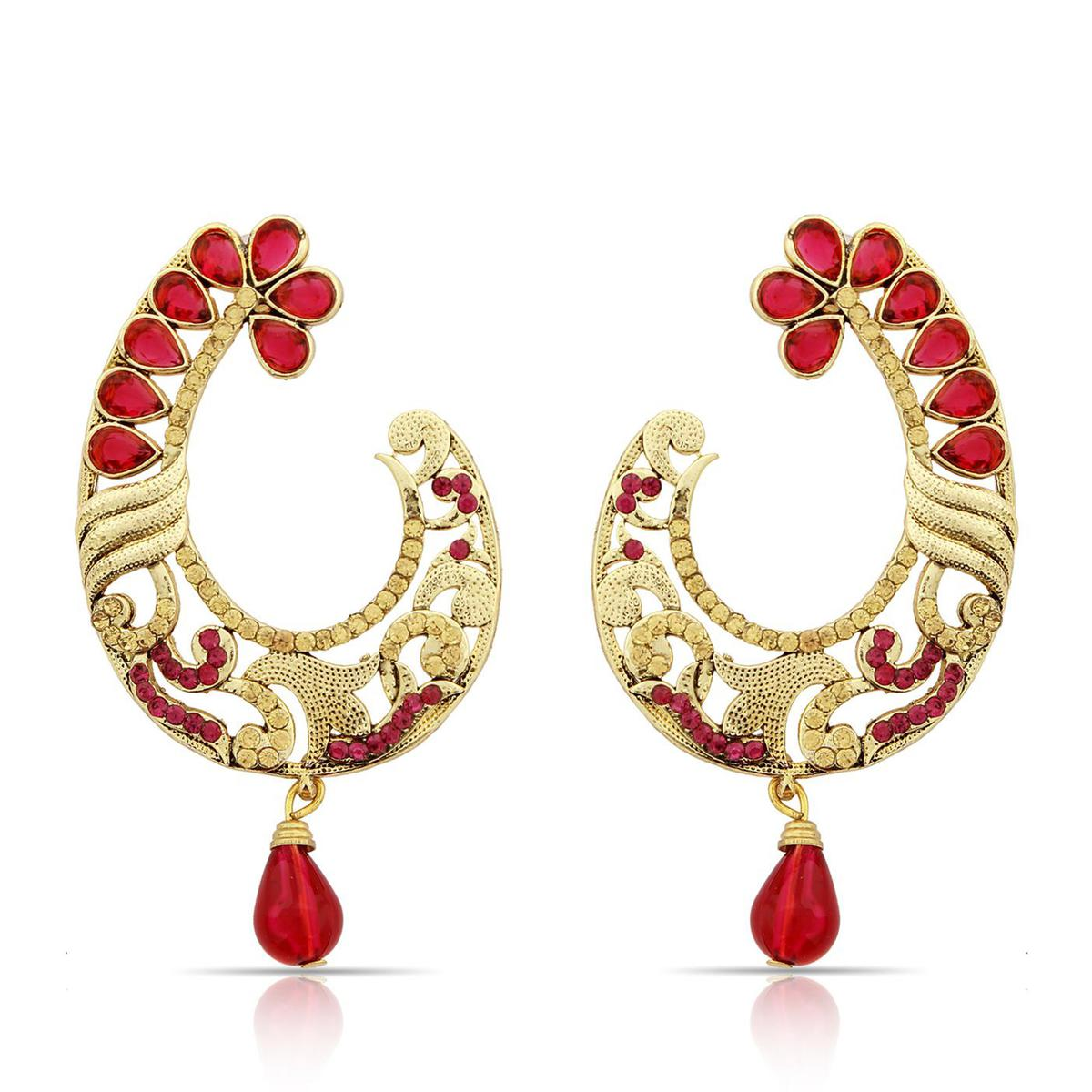 Trendy Red Colored Mix Metal Stone Work Earrings