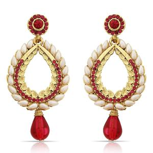 Magnetic Red Colored Mix Metal Stone Work Earrings