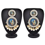 Mesmeric Golden Colored Mix Metal Stone Work Earrings