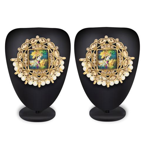 Flamboyant Golden Colored Mix Metal Stone Work Earrings
