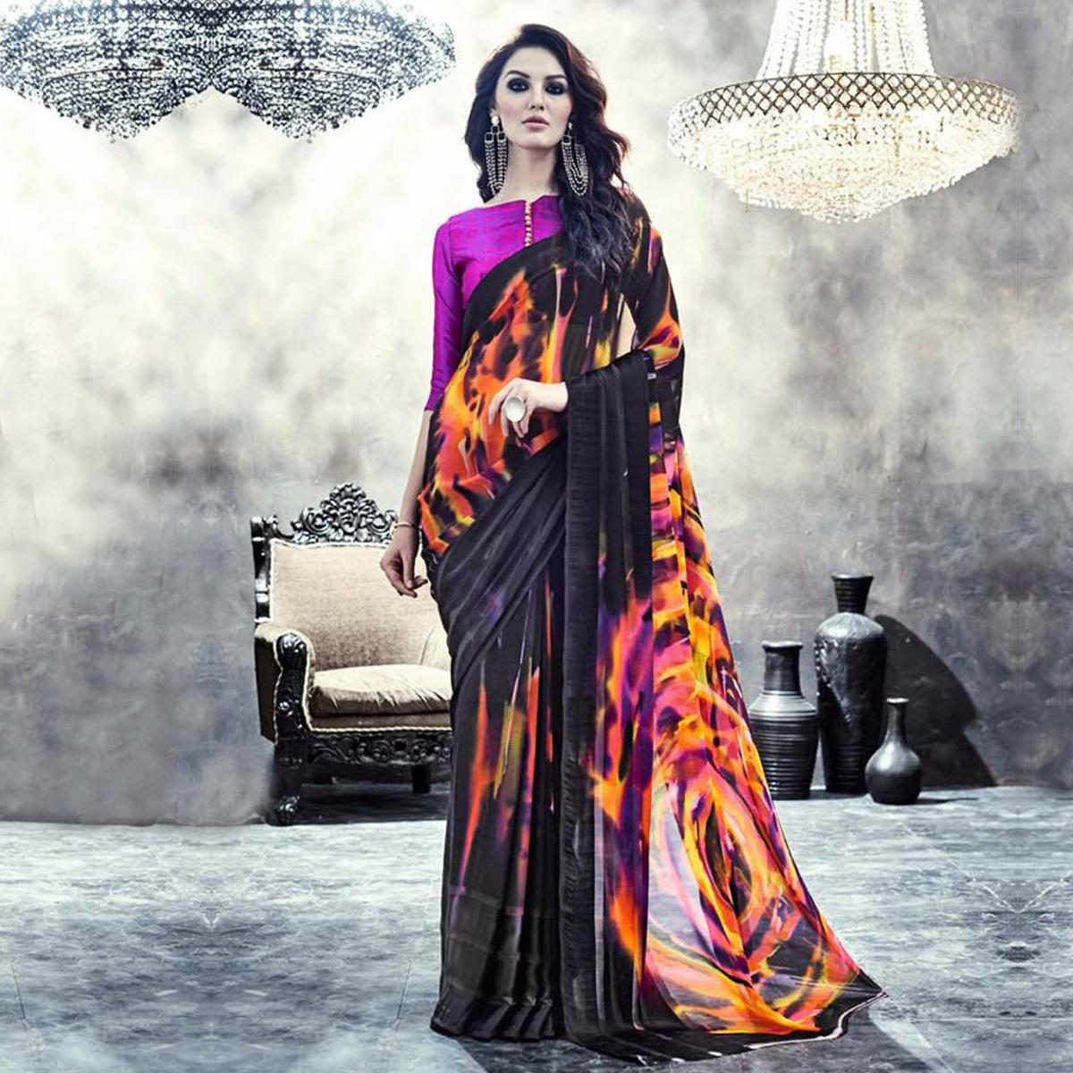 Black Georgette Satin Printed Saree