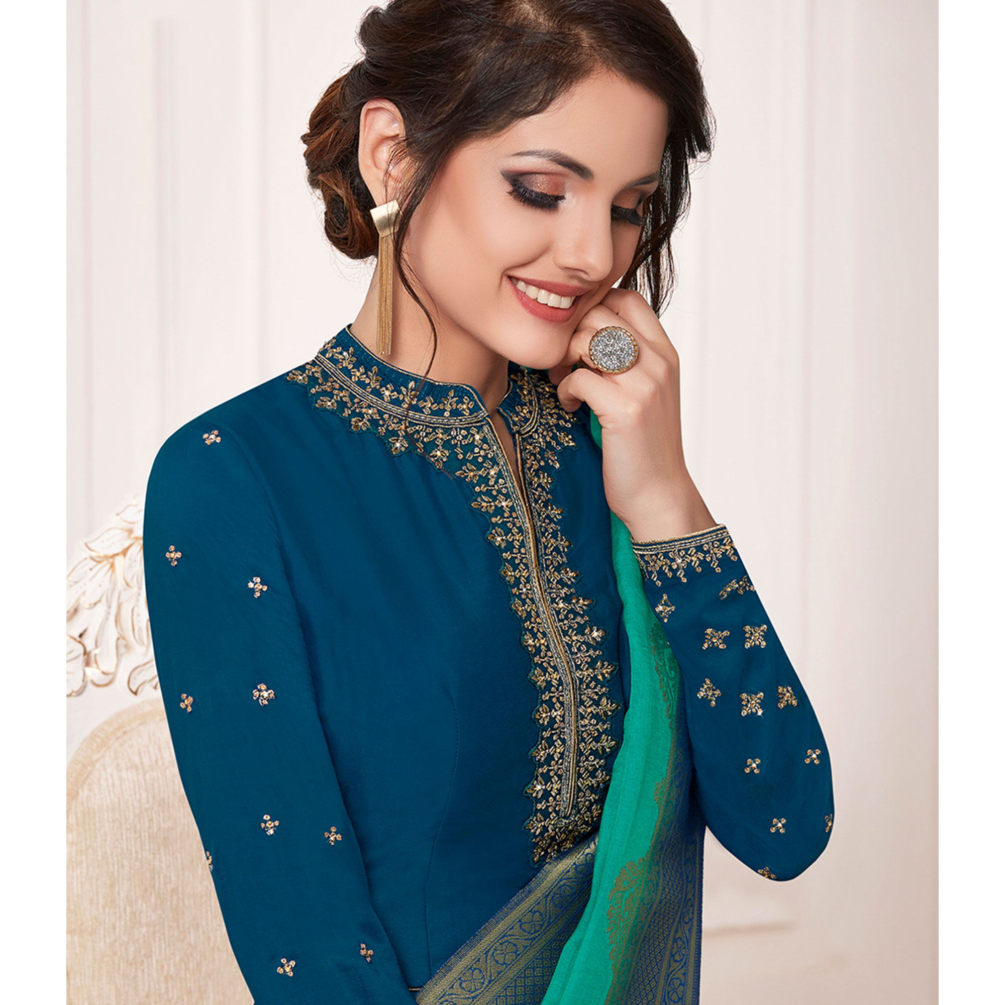 Flamboyant Blue Colored Partywear Embroidered Cotton Silk Anarkali Suit
