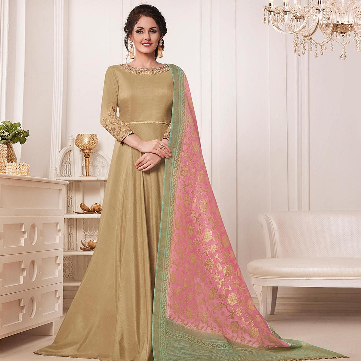 Flaunt Beige Colored Partywear Embroidered Cotton Silk Anarkali Suit