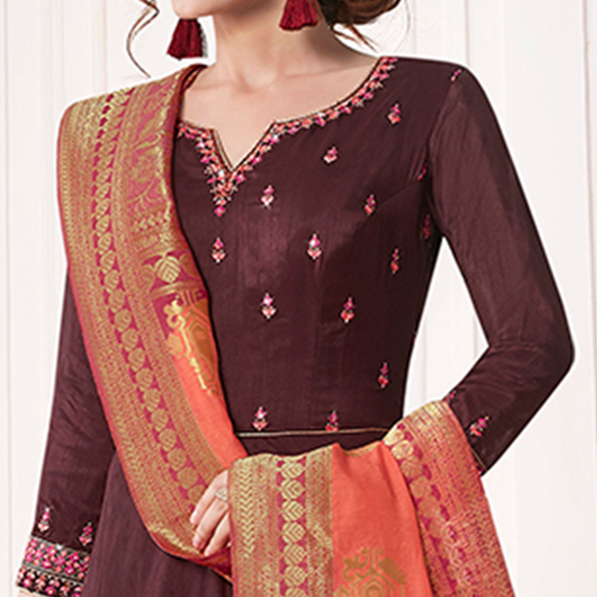 Energetic Wine Colored Partywear Embroidered Cotton Silk Anarkali Suit