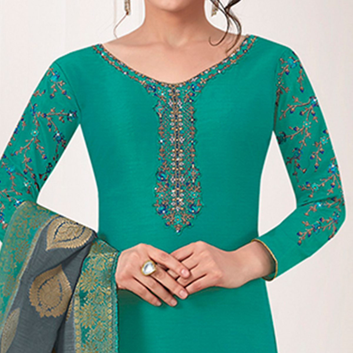 Magnetic Turquoise Green Colored Partywear Embroidered Cotton Silk Suit