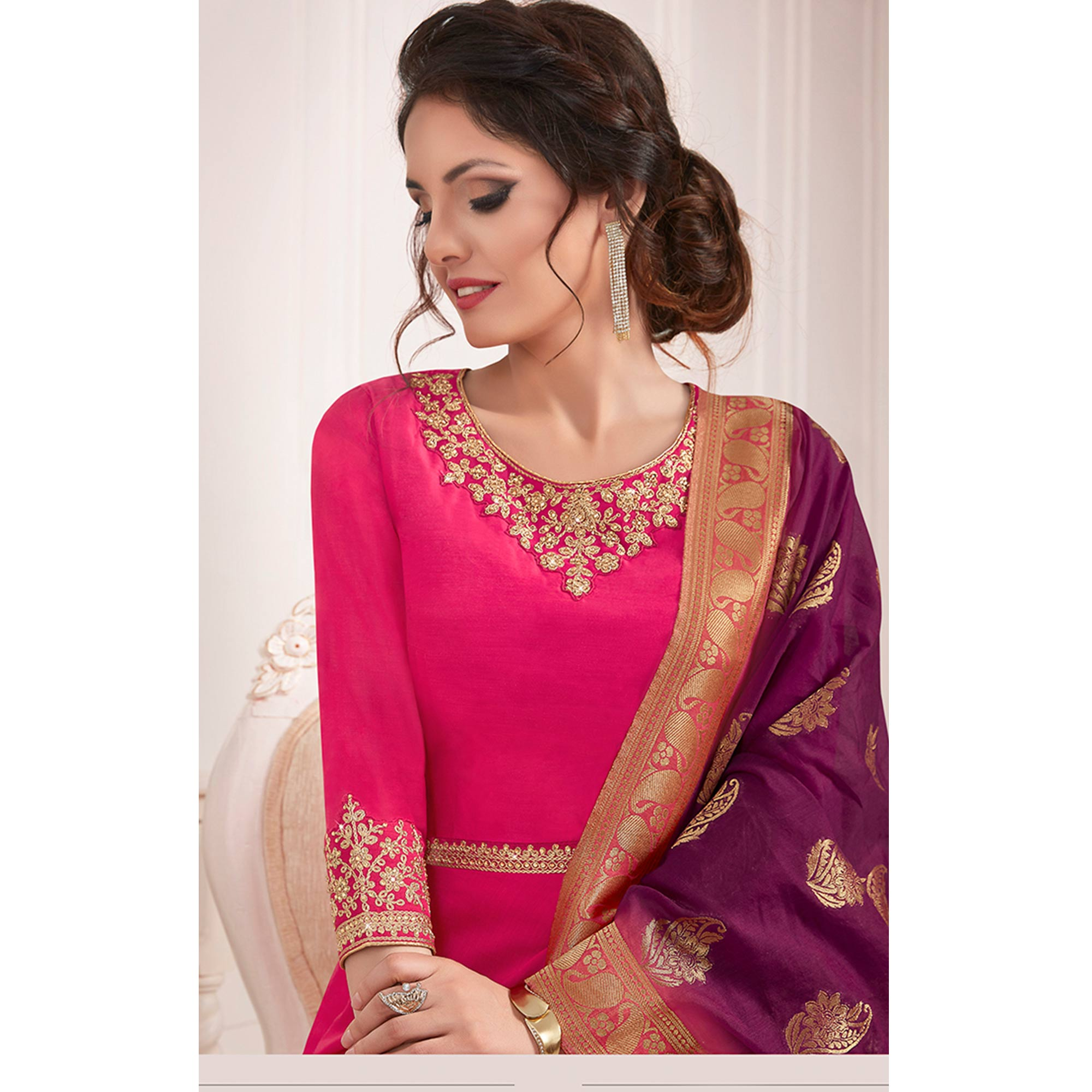 Hypnotic Rani Pink Colored Partywear Embroidered Cotton Silk Anarkali Suit
