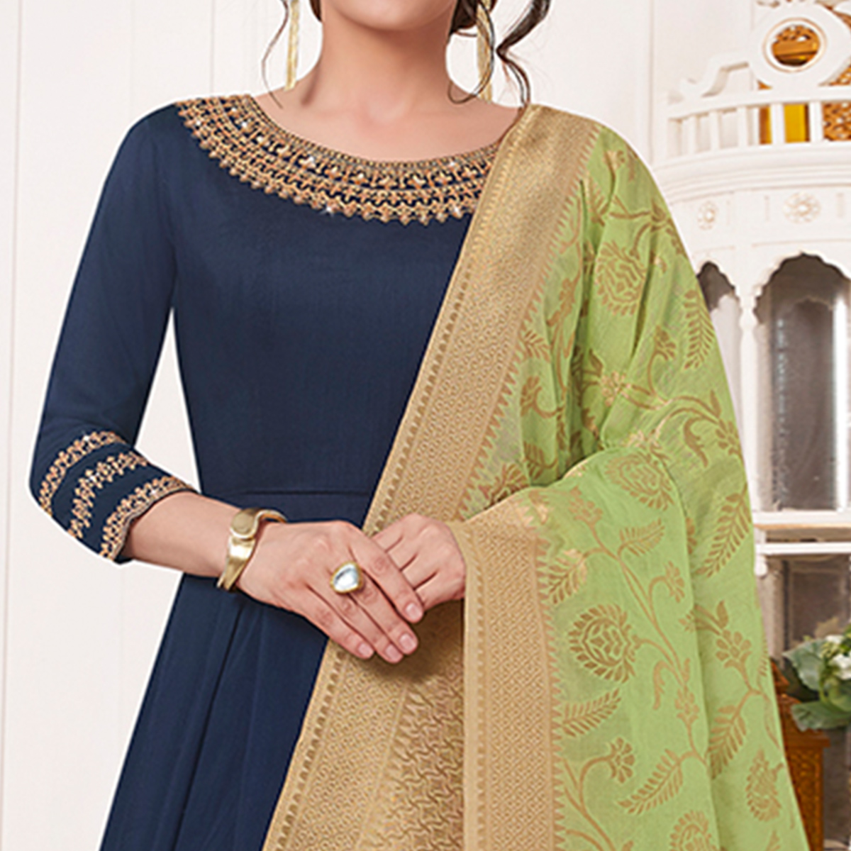 Glowing Navy Blue Colored Partywear Embroidered Cotton Silk Anarkali Suit