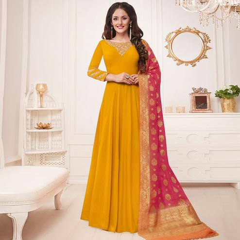 Flirty Mustard Yellow Colored Partywear Embroidered Cotton Silk Anarkali Suit