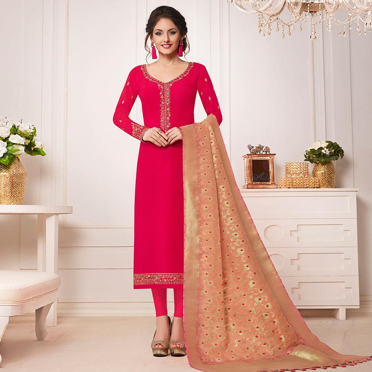 Starring Dark Pink Colored Partywear Embroidered Cotton Silk Suit
