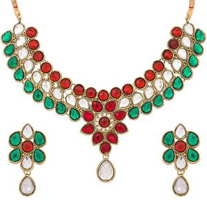 Impressive Golden Colored Stone Work Mix Metal Necklace Set
