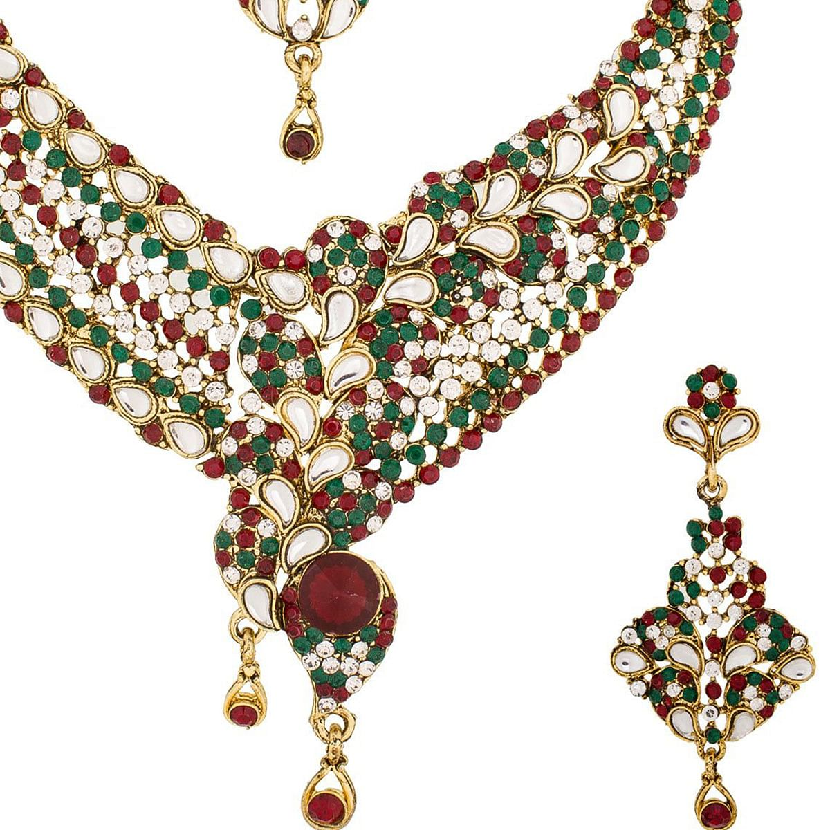 Innovative Golden Colored Stone Work Mix Metal Necklace Set