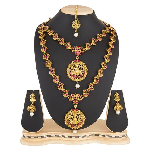 Excellent Golden Colored Stone Work Mix Metal Necklace Set