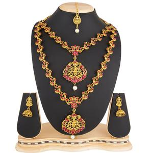 Ethnic Golden Colored Stone Work Mix Metal Necklace Set