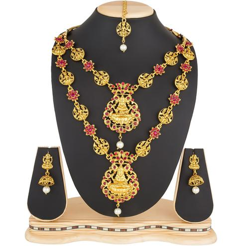 Starring Golden Colored Stone Work Mix Metal Necklace Set