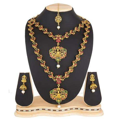 Flirty Golden Colored Stone Work Mix Metal Necklace Set