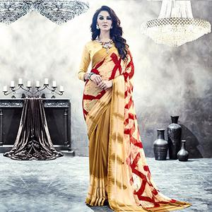 Cream - Golden Casual Printed Saree