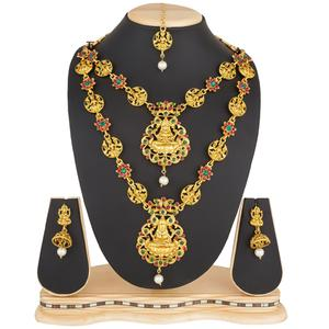 Hypnotic Golden Colored Stone Work Mix Metal Necklace Set