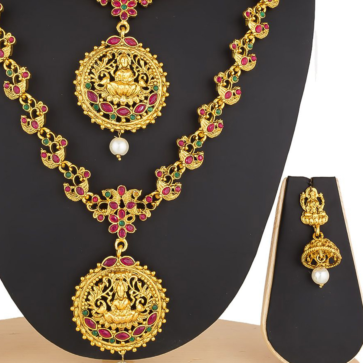 Trendy Golden Colored Stone Work Mix Metal Necklace Set