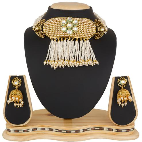 Magnetic Golden Colored Stone Work Mix Metal Necklace Set