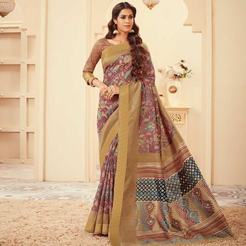 Intricate Dusty Pink Colored Casual Wear Printed Art Silk Saree