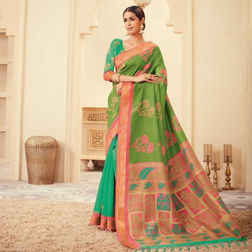 Sophisticated Green Colored Casual Wear Printed Art Silk Saree