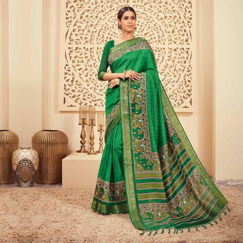 Pleasant Green Colored Casual Wear Printed Art Silk Saree